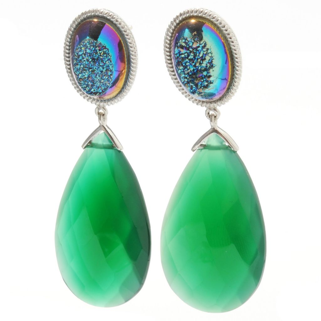 "132-738 - Gem Insider Sterling Silver 2"" 30 x 18mm Teardrop Agate & Oval Drusy Dangle Earrings"