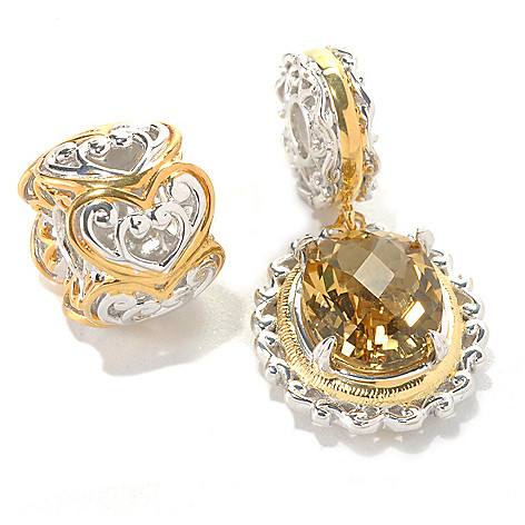 132-740 - Gems en Vogue Set of Two Zambian Citrine & Two-tone Heart Slide-on Charms