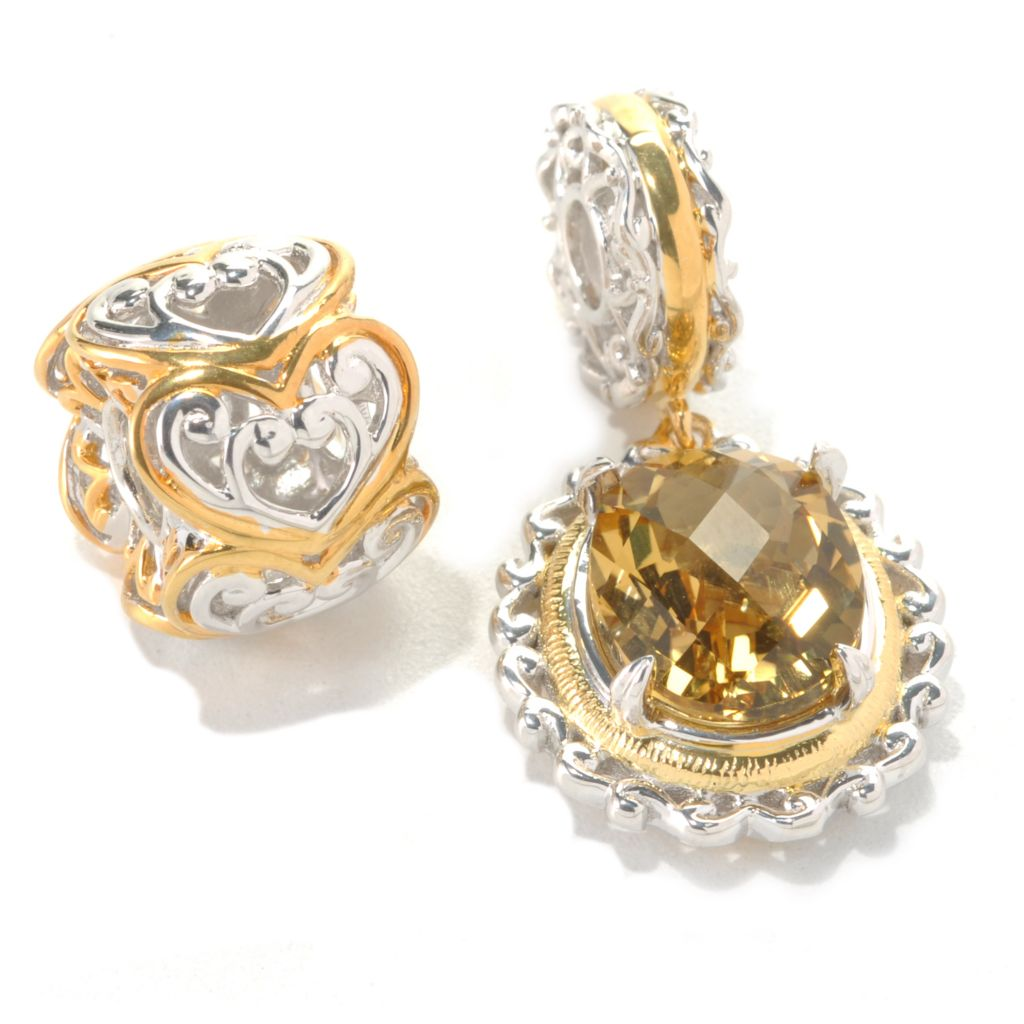132-740 - Gems en Vogue II Set of Two Zambian Citrine & Two-tone Heart Slide-on Charms