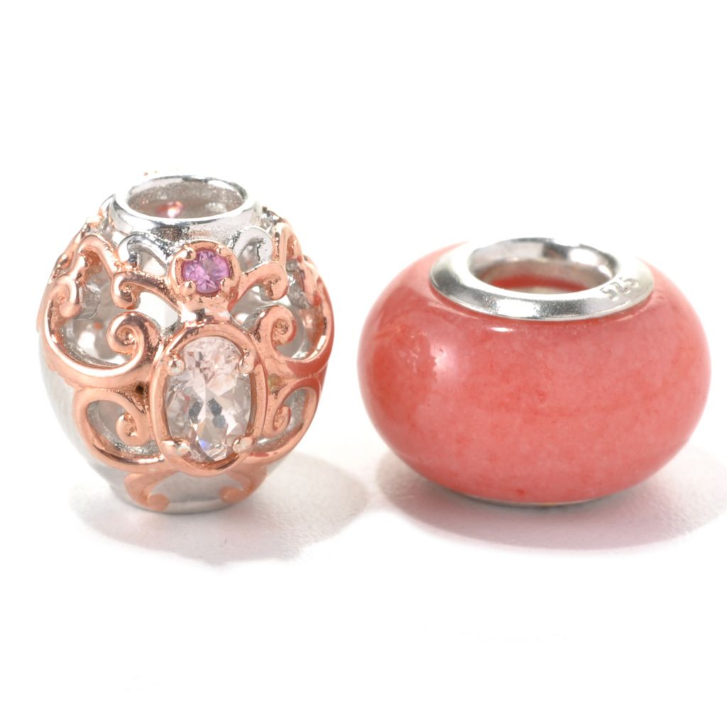 132-742 - Gems en Vogue II Set of Two Morganite Oval & Pink Quartz Slide-on Charms