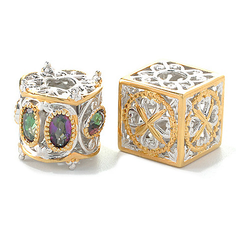 132-743 - Gems en Vogue Set of Two Oval Mystic Topaz & Two-tone Cube Slide-on Charms