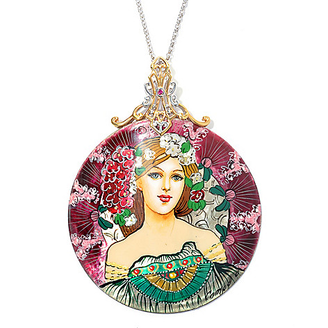 132-746 - Gems en Vogue II 60mm Hand-Painted Mother-of-Pearl Maiden Dreamer Pendant w/ Chain