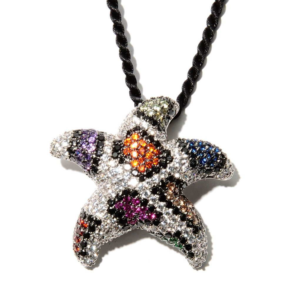 132-748 - Neda Behnam Platinum Embraced™ 5.94 DEW Colored Simulated Diamond Starfish Pendant