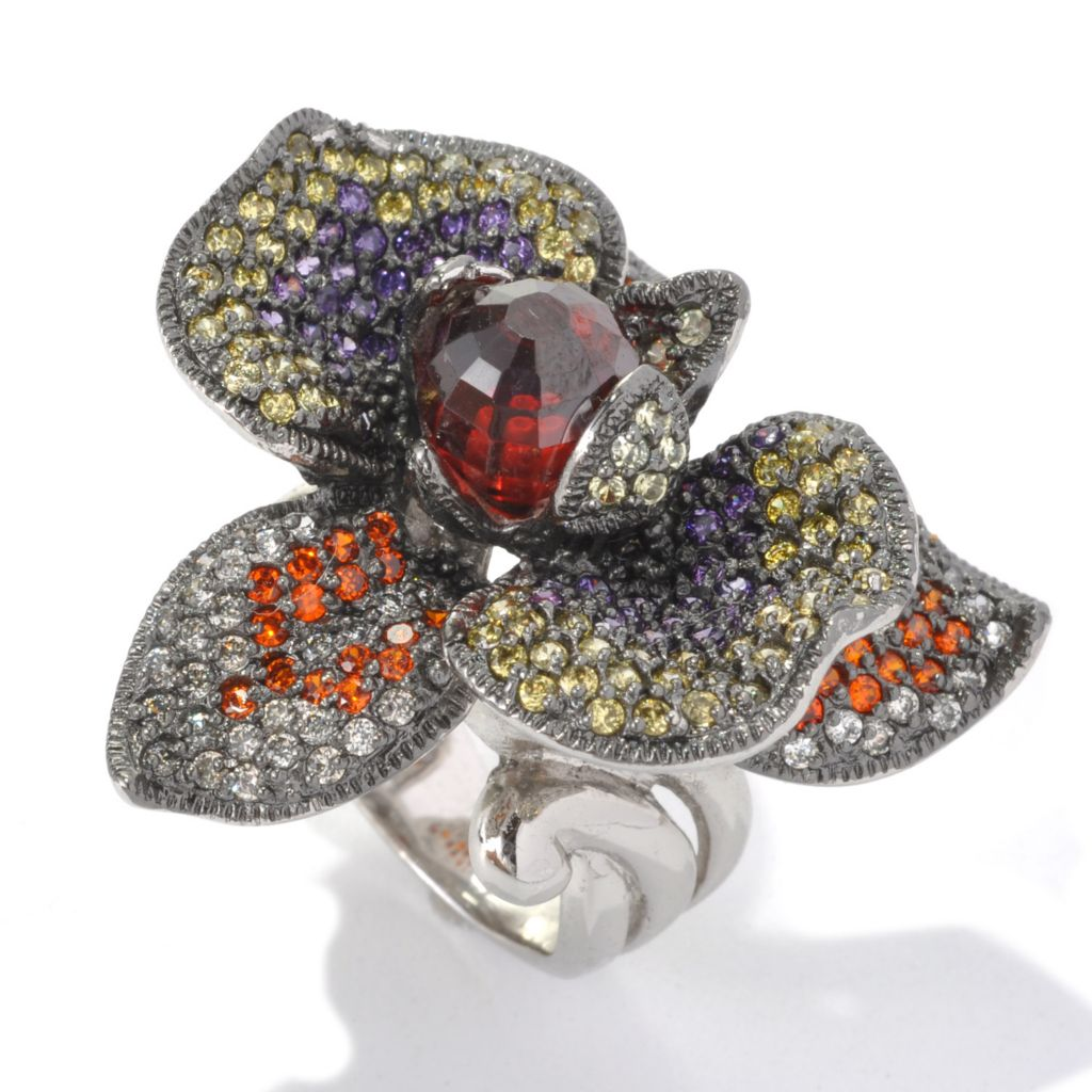 132-750 - Neda Behnam Platinum Embraced™ 7.30 DEW Multi Color Simulated Gem Flower Ring