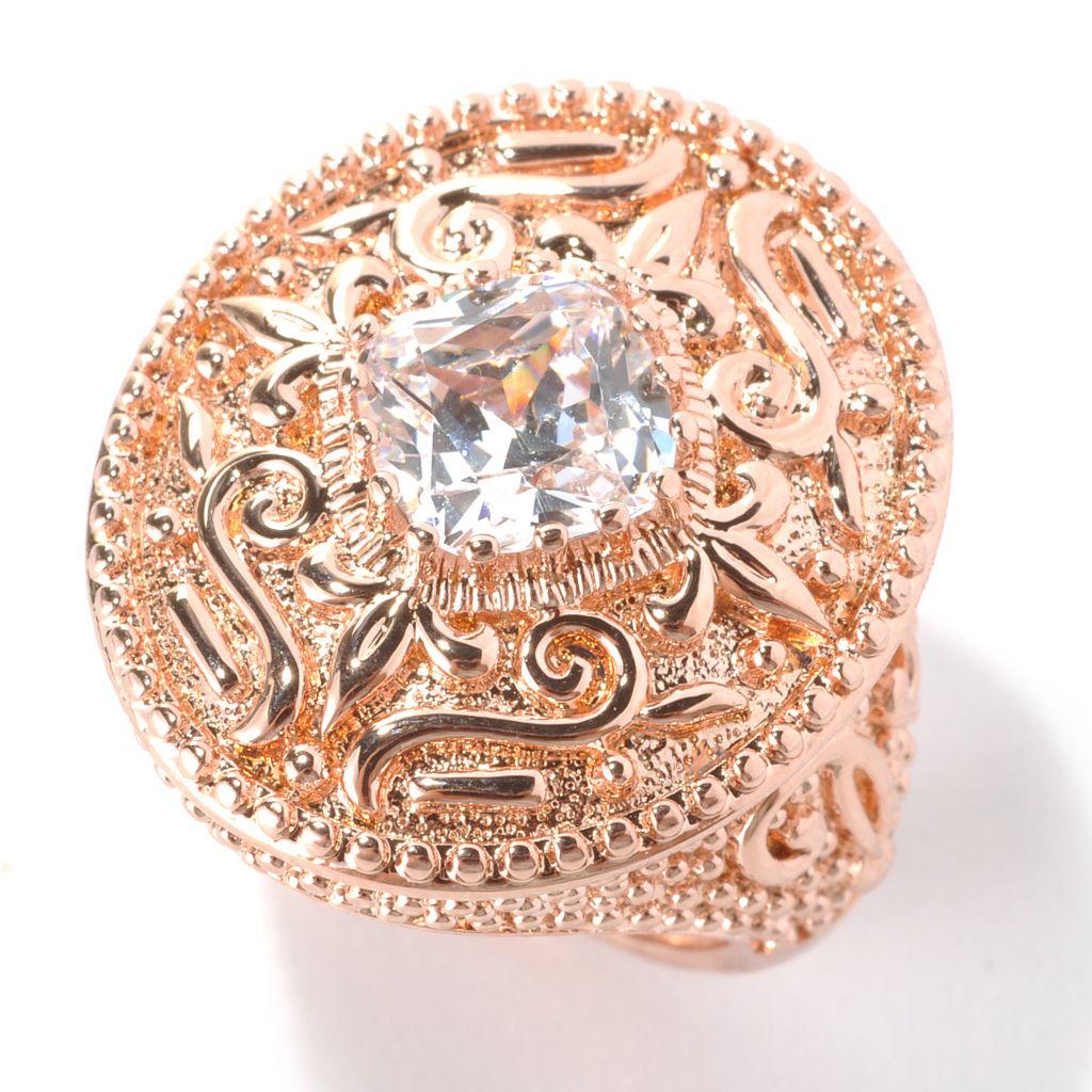 132-752 - Brilliante® 18K Rose Gold Embraced™ 2.50 DEW Cushion Cut Simulated Diamond Oval Ring
