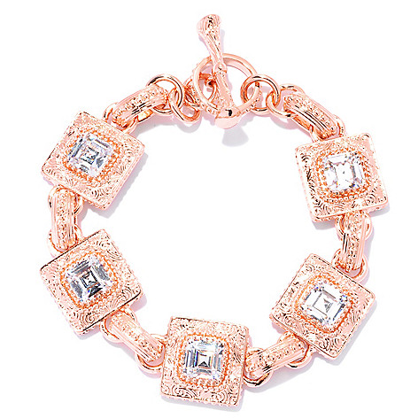 132-753 - Brilliante® 18K Rose Gold Embraced™ Simulated Diamond Etched Milgrain Toggle Bracelet