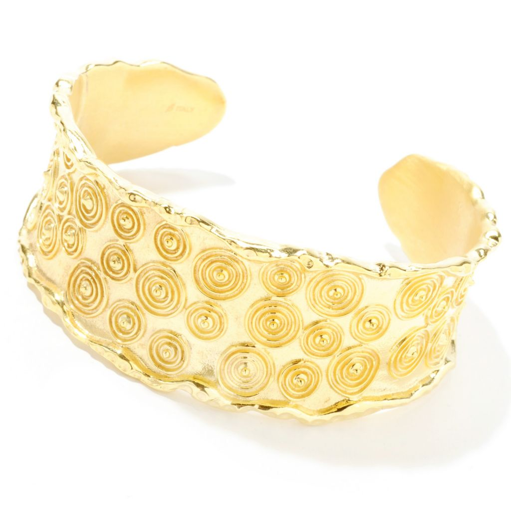 "132-754 - Toscana Italiana 18K Gold Embraced™ 6.5"" Textured Concentric Cuff Bracelet"