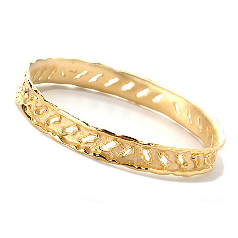 132-755 - Toscana Italiana Gold Embraced™ 8'' Textured Rip Cut-out Bangle Bracelet