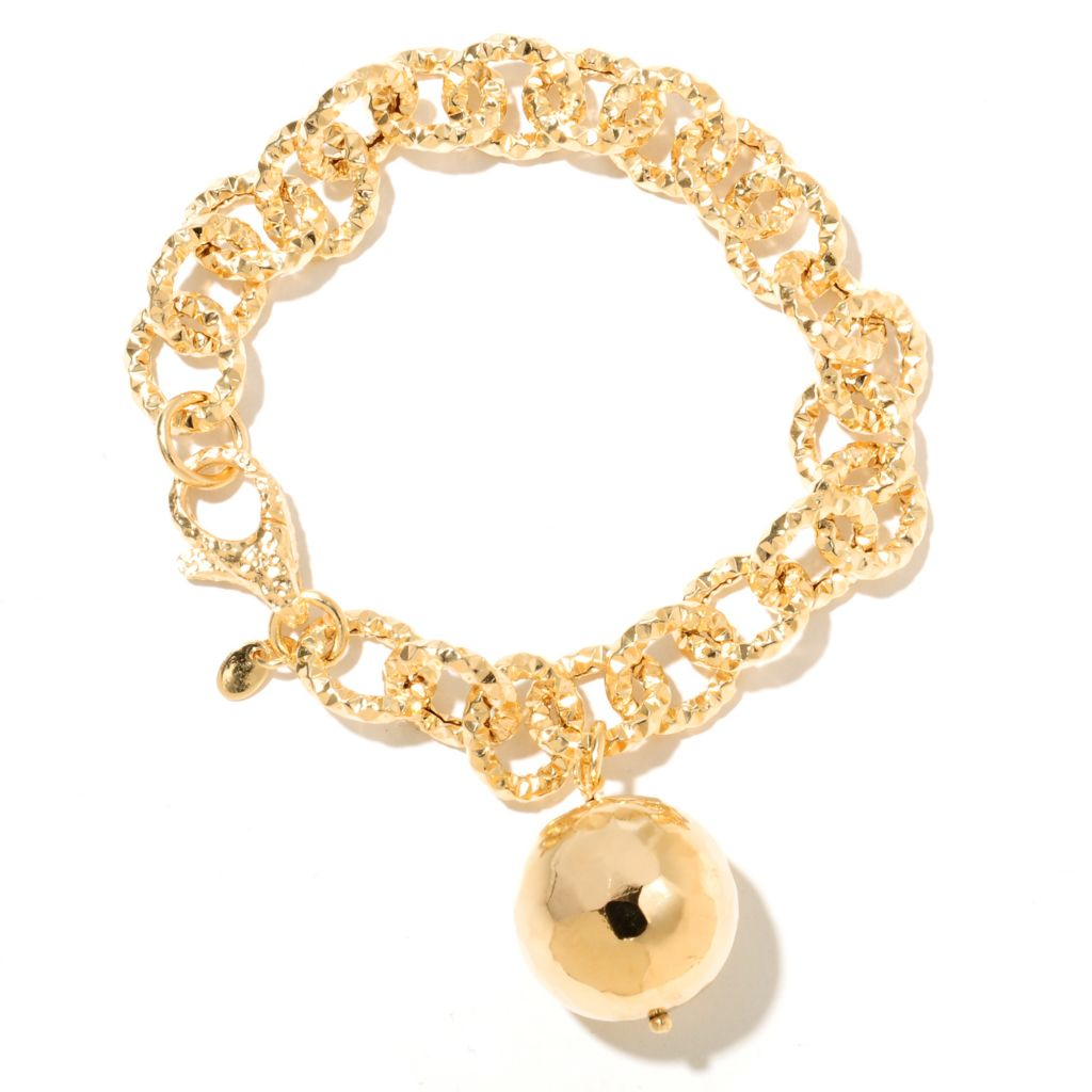 "132-758 - Toscana Italiana 18K Gold Embraced™ 8.25"" Hammered Bracelet w/ Bead Charm"