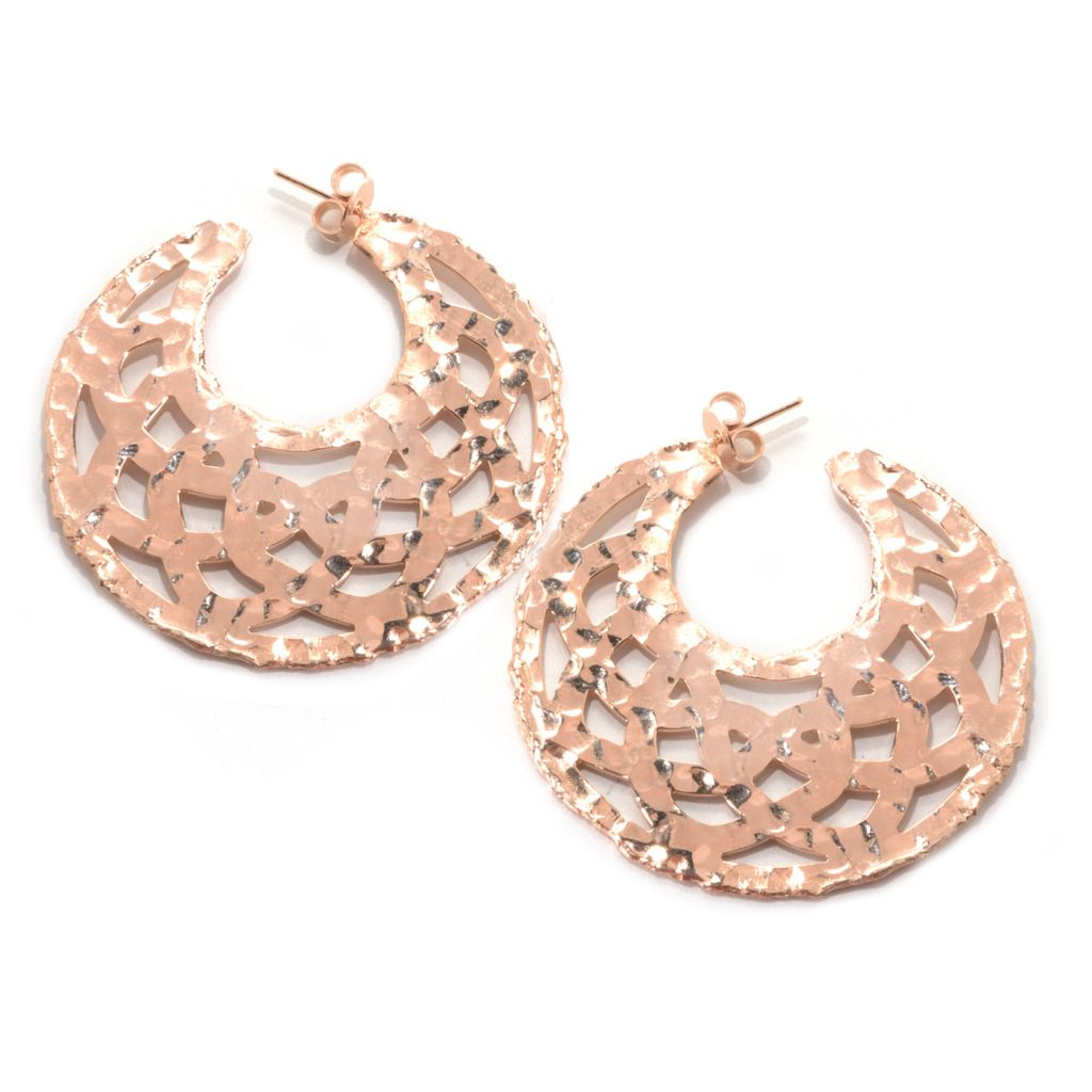 "132-760 - Toscana Italiana Gold Embraced™ 2.75"" Cut-out Hammered Hoop Earrings"