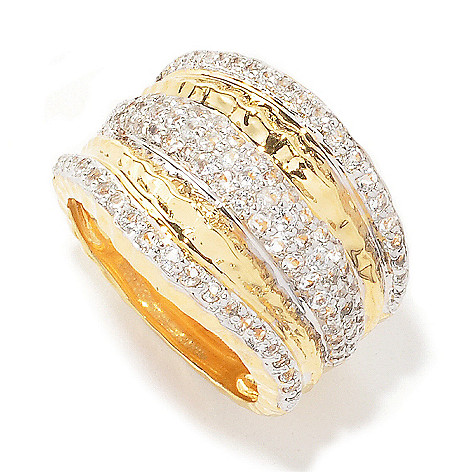 132-761 - Toscana Italiana 18K Gold Embraced™ 1.71ctw White Topaz Hammered Wave Band Ring