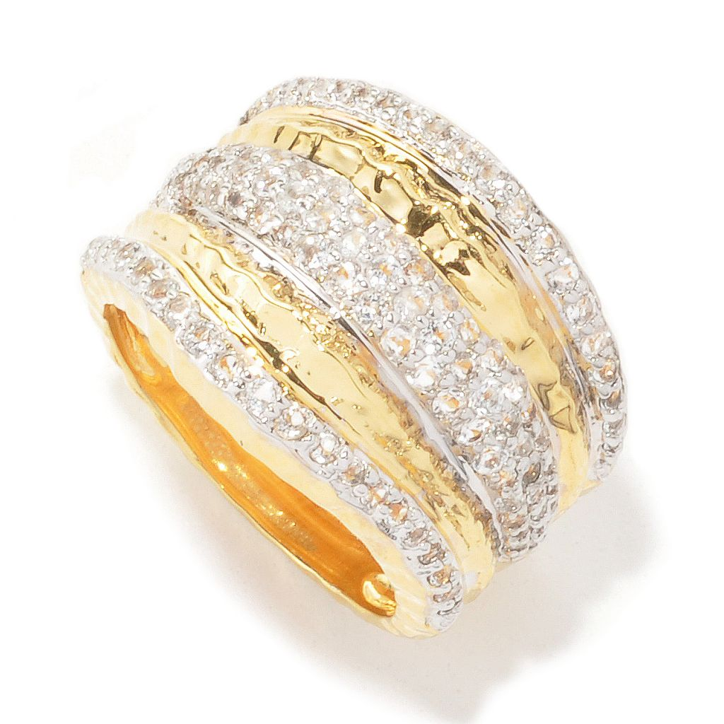 132-761 - Toscana Italiana Gold Embraced™ 1.71ctw White Topaz Hammered Wave Band Ring