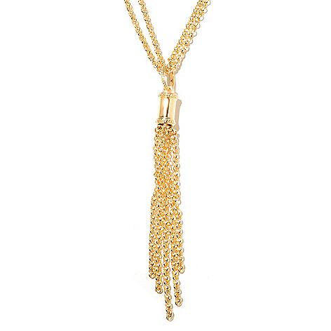 132-762 - Toscana Italiana Gold Embraced™ 20'' Double Chain & Tassel Necklace