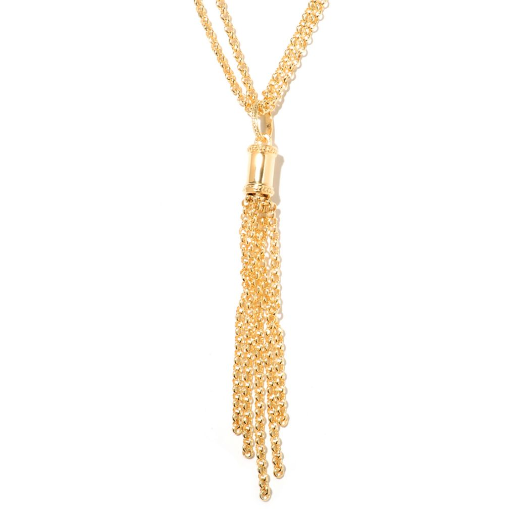 "132-762 - Toscana Italiana Gold Embraced™ 20"" Double Chain & Tassel Necklace"