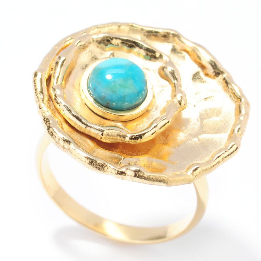 132-764 - Toscana Italiana 18K Gold Embraced™ Turquoise Multi Layer Hammered Ring