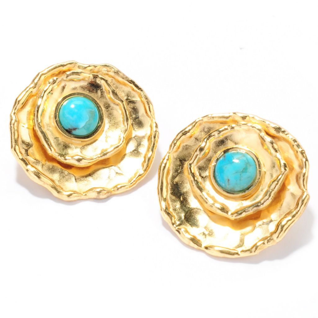 132-765 - Toscana Italiana 18K Gold Embraced™ Turquoise Hammered Stud Earrings