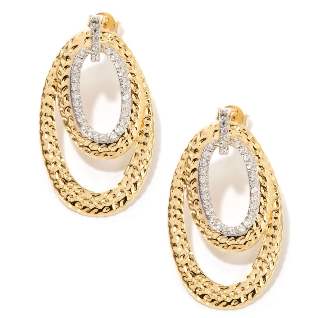 "132-767 - Toscana Italiana 18K Gold Embraced™ 1.5"" White Topaz Double Drop Hammered Earrings"