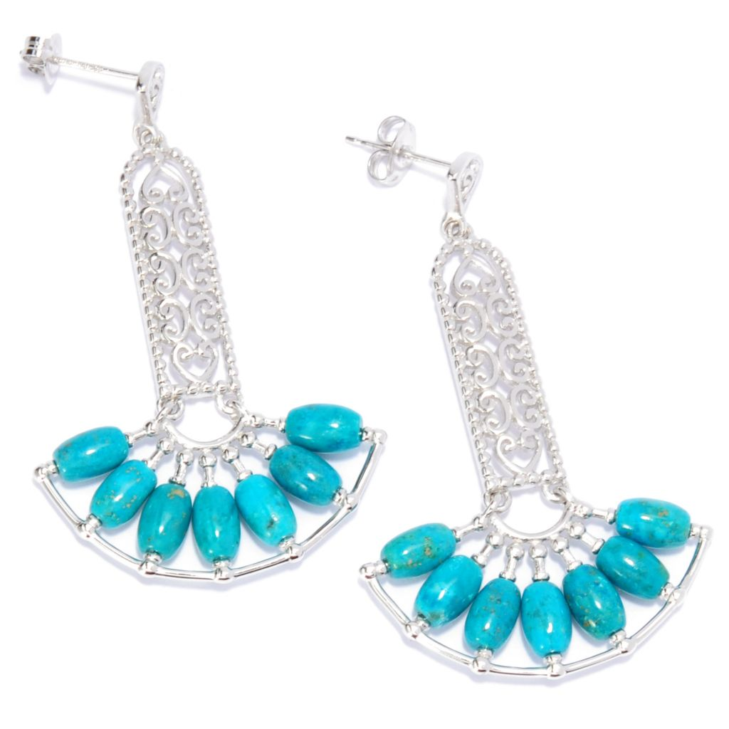 "132-775 - Jaipur Bazaar Gold Embraced™ 1.75"" Elongated Turquoise Drop Earrings"