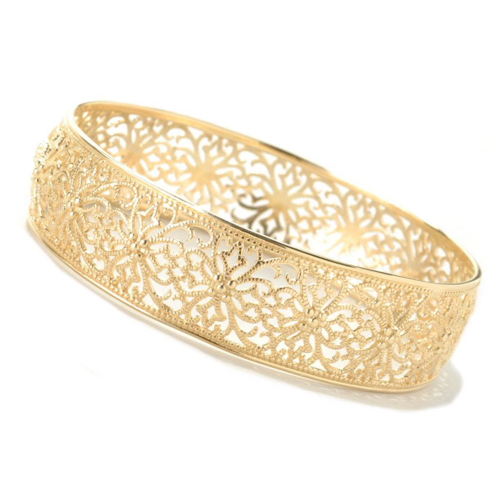 "132-777 - Jaipur Bazaar Gold Embraced™ 8"" Textured & Filigreed Slip-on Bangle Bracelet"