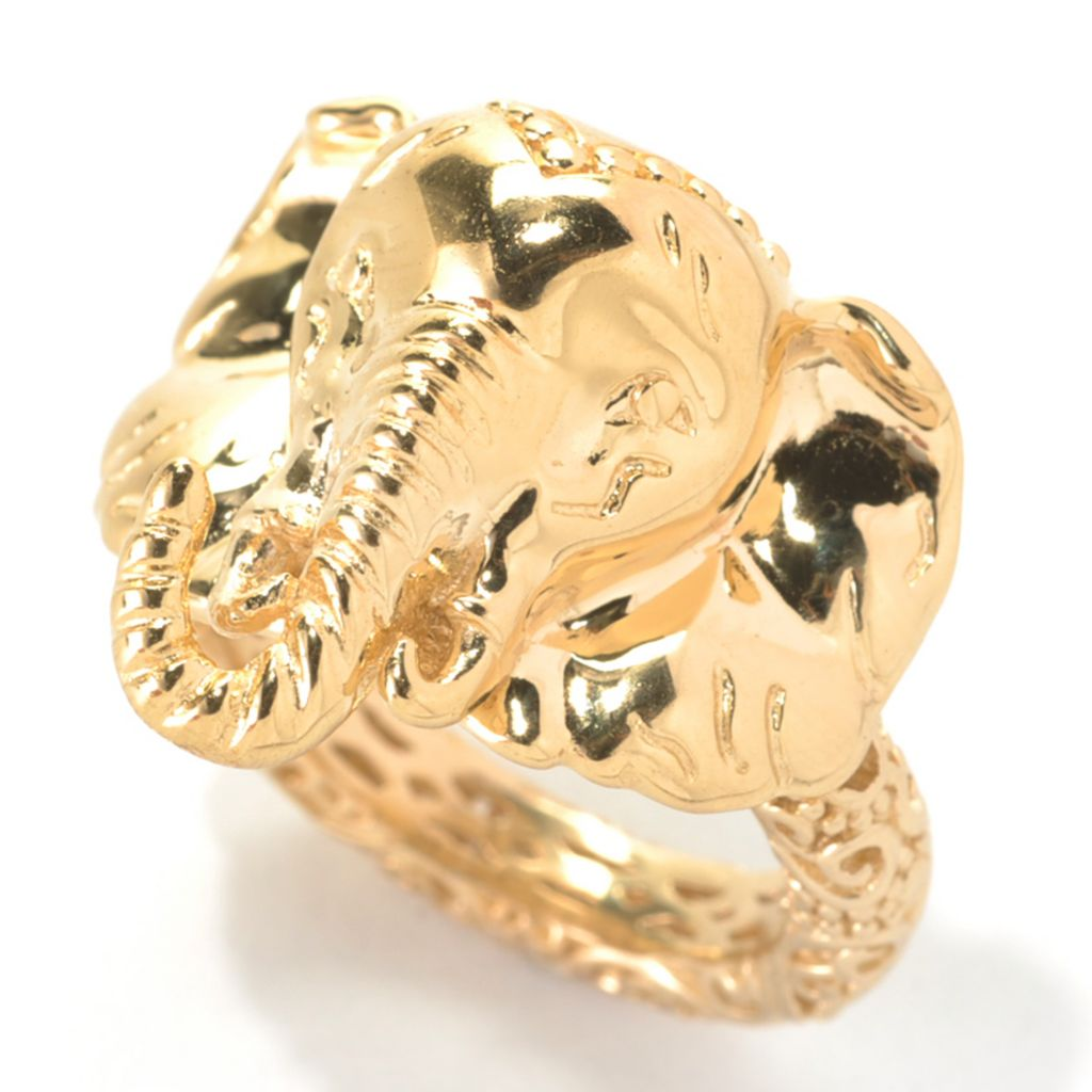 132-784 - Jaipur Bazaar Gold Embraced™ High Polished Elephant Ring