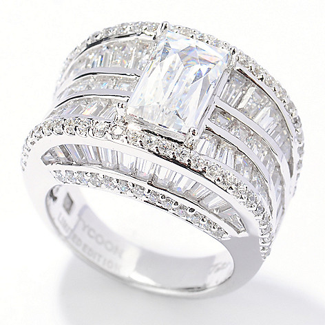 132-809 - TYCOON Platinum Embraced™ 6.09 DEW Multi Cut & Shaped Simulated Diamond Glamour Ring