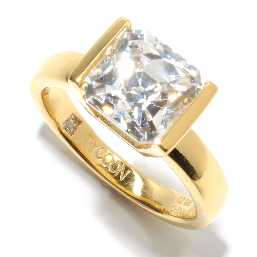 132-820 - TYCOON 3.42 DEW Royal TYCOON CUT Simulated Diamond Kissing Stones Ring