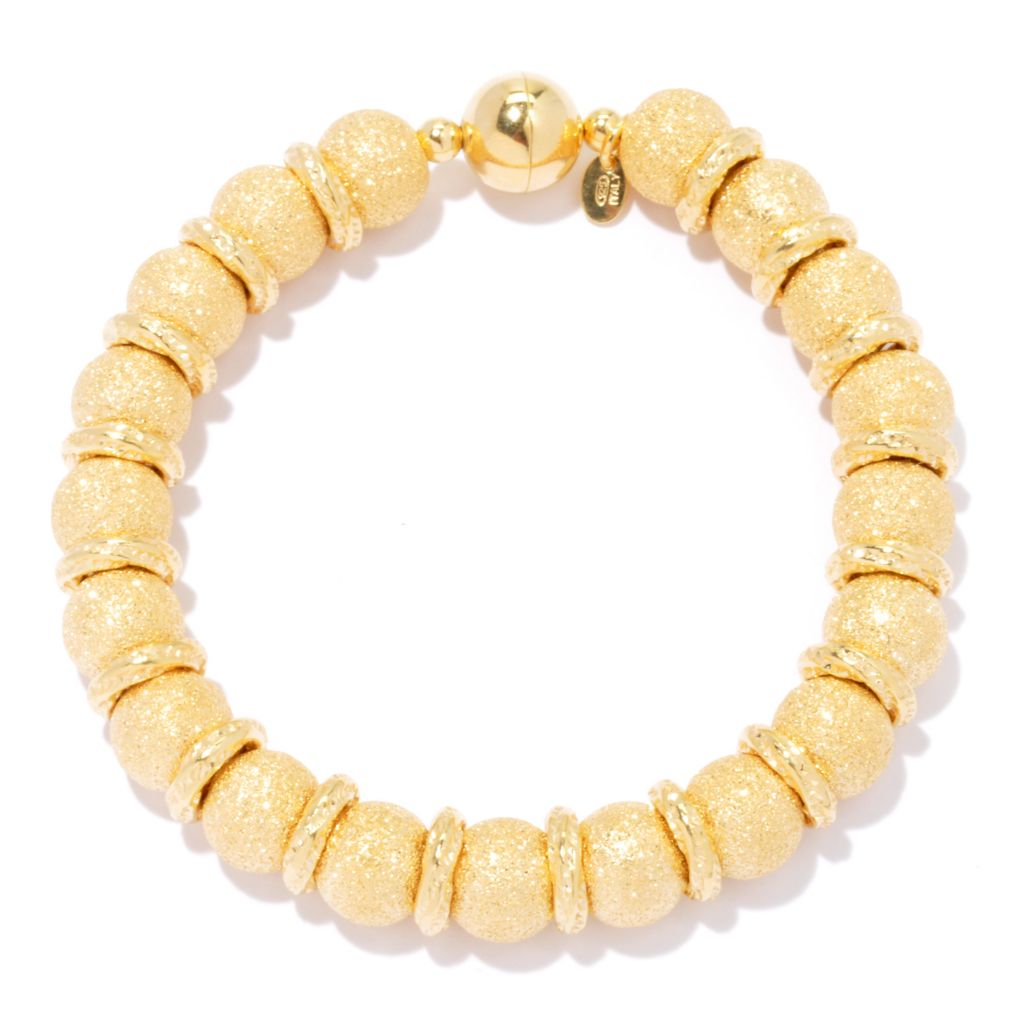 132-821 - Scintilloro™ Gold Embraced™ 8.25 Diamond Cut Bead & Hammered Bracelet w/ Magnetic Clasp