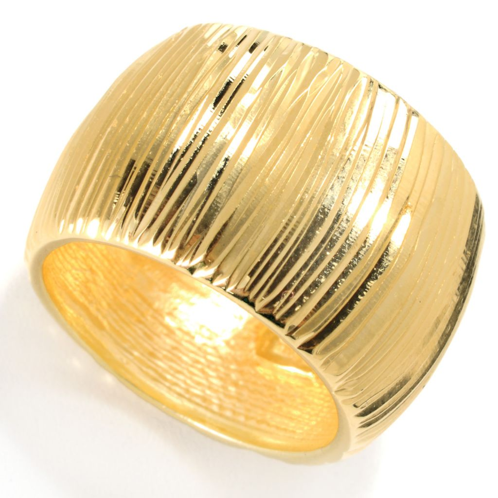 132-824 - Scintilloro™ Gold Embraced™ Diamond Cut Cigar Band Ring