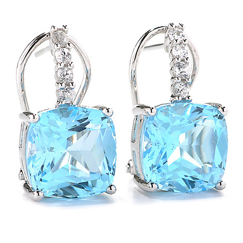 132-833 - Gem Treasures® Sterling Silver 12.68ctw Sky Blue Topaz & White Zircon Earrings
