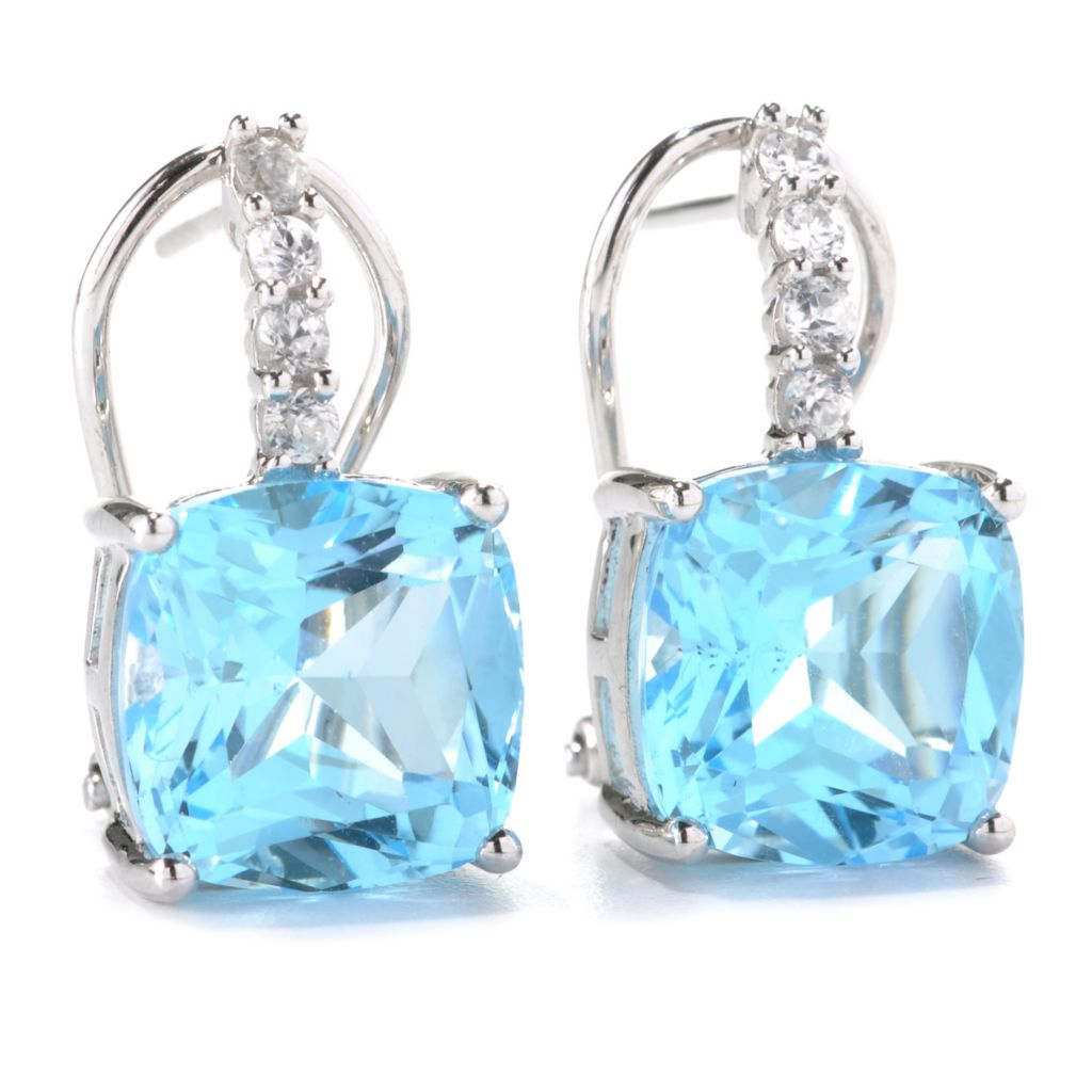 132-833 - Gem Treasures Sterling Silver 12.68ctw Sky Blue Topaz & White Zircon Earrings