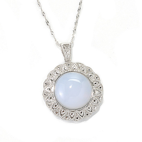 132-834 - Gem Treasures Sterling Silver 16mm Chalcedony Flower Frame Pendant w/ Chain