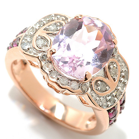 132-835 - Gem Treasures 14K Rose Gold 3.56ctw Kunzite, Pink Tourmaline & Diamond Ring