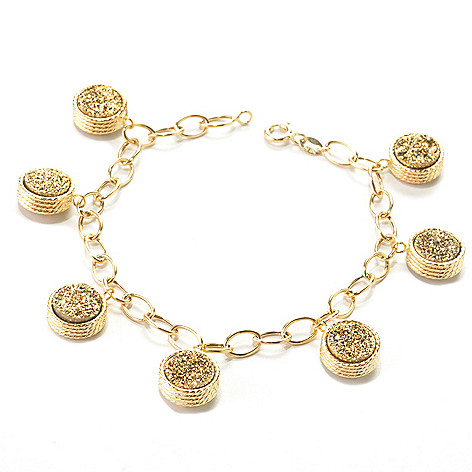 132-841 - Viale18K® Italian Gold 7.25'' 9mm Drusy Dangle Bracelet
