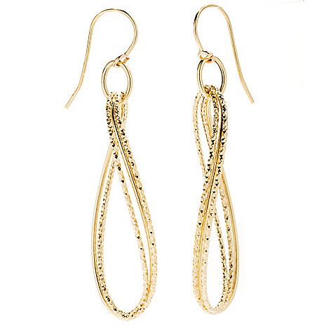 132-847 - Viale18K® Italian Gold 2.25'' Textured Marquise Dangle Earrings