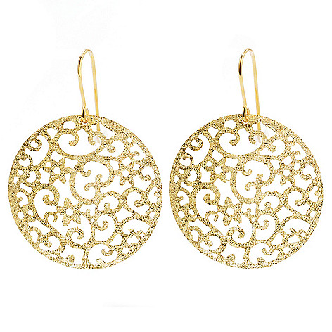 132-850 - Viale18K® Italian Gold 1.5'' Diamond Cut Filigree Disk Drop Earrings