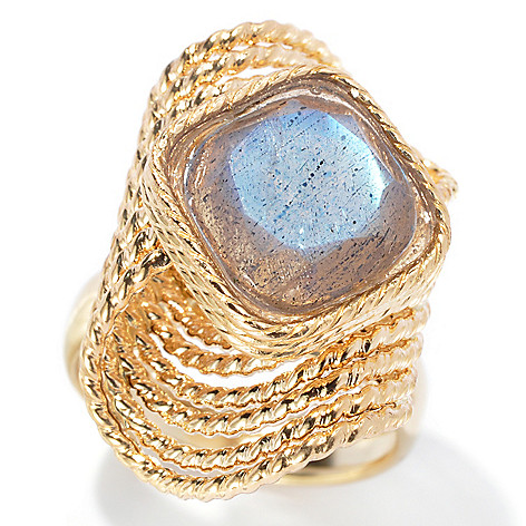 132-851 - Viale18K® Italian Gold 10mm Labradorite Sculpted Multi Wire Twisted Ring