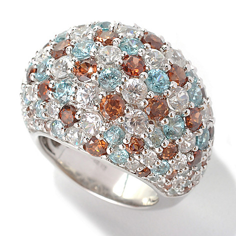 132-858 - Gem Insider Sterling Silver 11.30ctw Brown, Blue & White Zircon Dome Ring