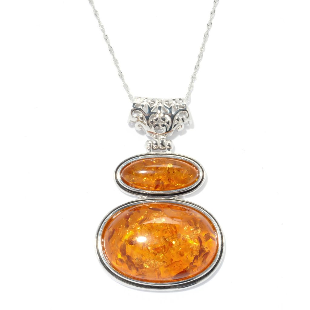 132-860 - Gem Insider Sterling Silver 28 x 19mm Amber Double Oval Pendant w/ Chain