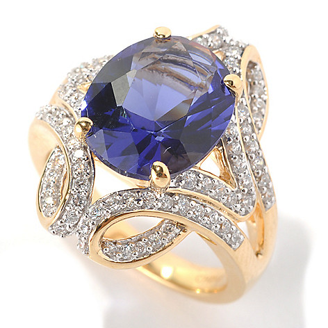 132-868 - Brilliante® Gold Embraced™ 4.42 DEW Oval Cut Simulated Tanzanite Fancy Shank Ring