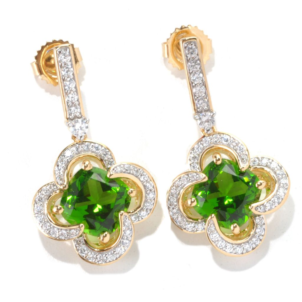 "132-875 - Brilliante® Gold Embraced™ 1.25"" 6.90 DEW Simulated Chrome Diopside Clover Drop Earrings"