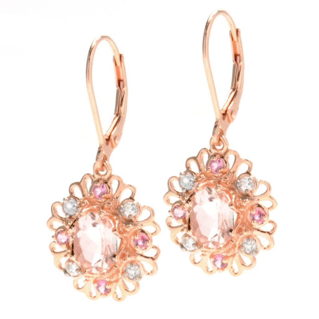 "132-883 - NYC II 1.25"" 2.58ctw Morganite, Pink Tourmaline & White Zircon Drop Flower Earrings"