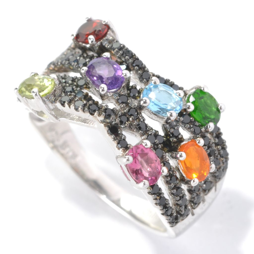 "132-891 - NYC II 1.72ctw Black Spinel & Multi Gemstone ""Highway"" Band Ring"