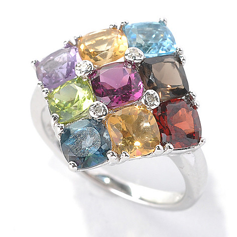 132-893 - NYC II 4.58ctw Cushion Cut Multi Gemstone & Diamond Ring