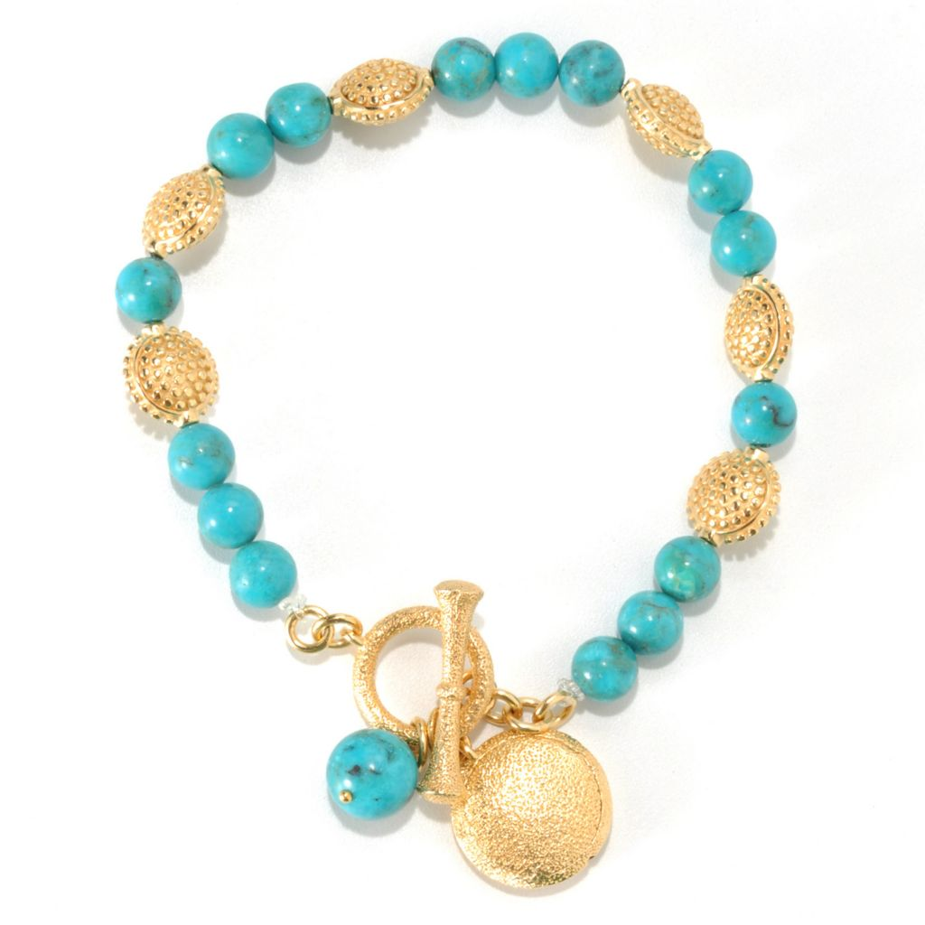 132-905 - Jaipur Bazaar Gold Embraced™ Turquoise Bead & Disk Toggle Bracelet