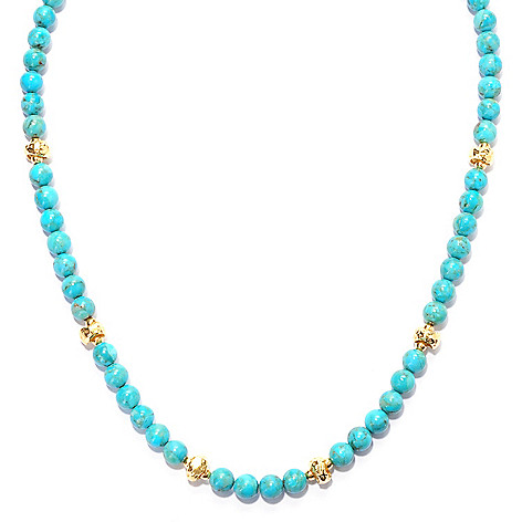 132-906 - Toscana Italiana Gold Embraced™ 18'' Gemstone & Hammered Bead Station Necklace