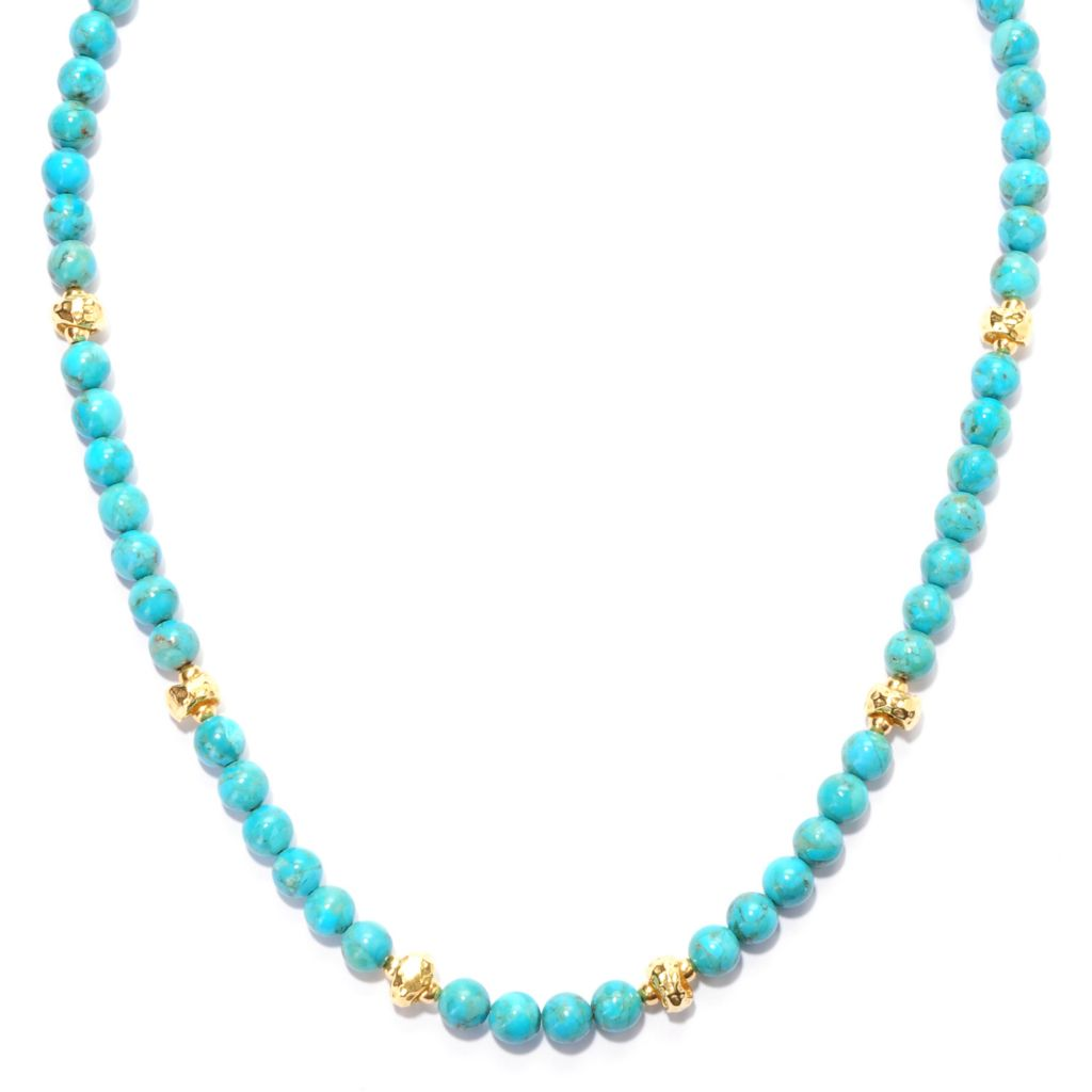 "132-906 - Toscana Italiana Gold Embraced™ 18"" Gemstone & Hammered Bead Station Necklace"