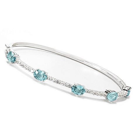 132-913 - Gem Treasures® Sterling Silver 2.77ctw Blue & White Zircon Bangle Bracelet