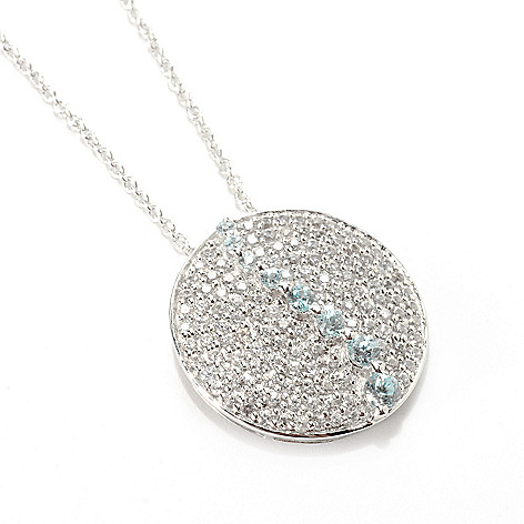 132-915 - Gem Treasures Sterling Silver 2.37ctw White & Blue Zircon Circle Pendant w/ Chain