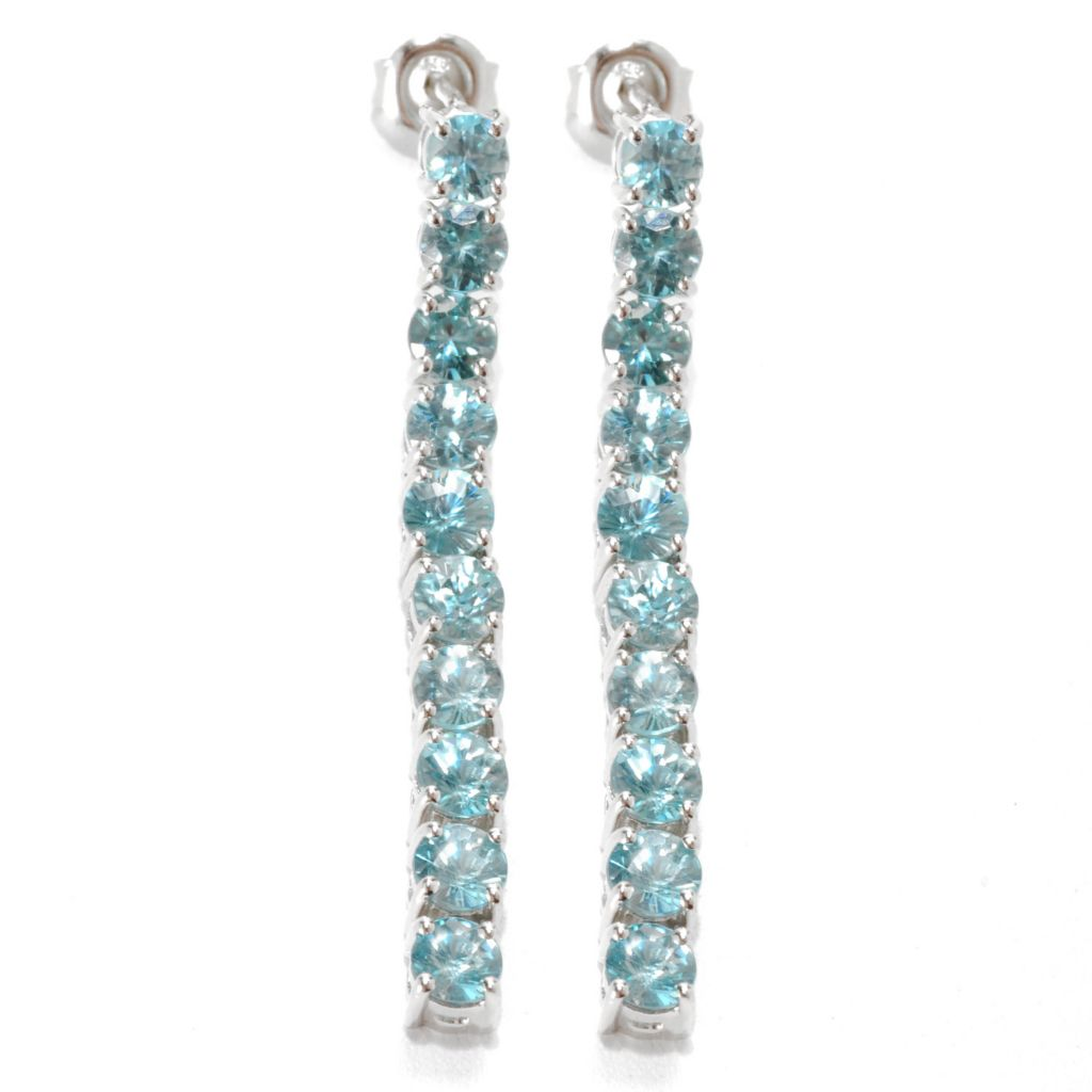 "132-917 - Gem Treasures Sterling Silver 1.5"" 6.73ctw Blue Zircon Linear Dangle Earrings"