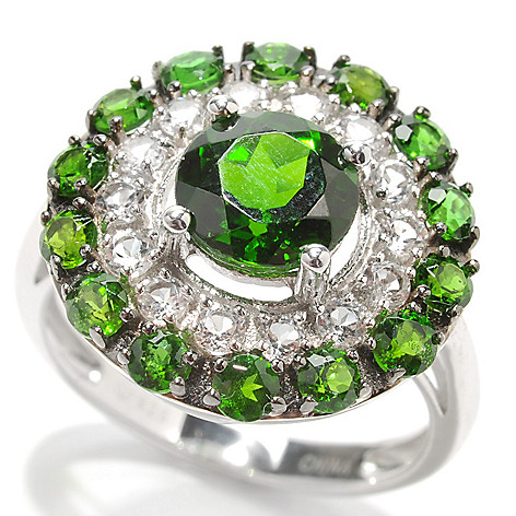 132-922 - Gem Insider Sterling Silver 3.04ctw Chrome Diopside & White Topaz Halo Ring